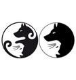 yin yang symbol cat and dog vector image