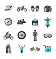 Bike Rider Flat Icons Set vector image
