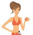 Fitness girl with apple vector image