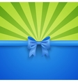 Green beam background with blue gift bow and vector image
