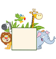 Jungle Animals Behind A Blank Sign With Leaves vector image