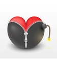 Red heart inside the black bombs vector image