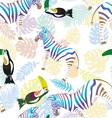 Zebra and toucan on the background of tropical vector image