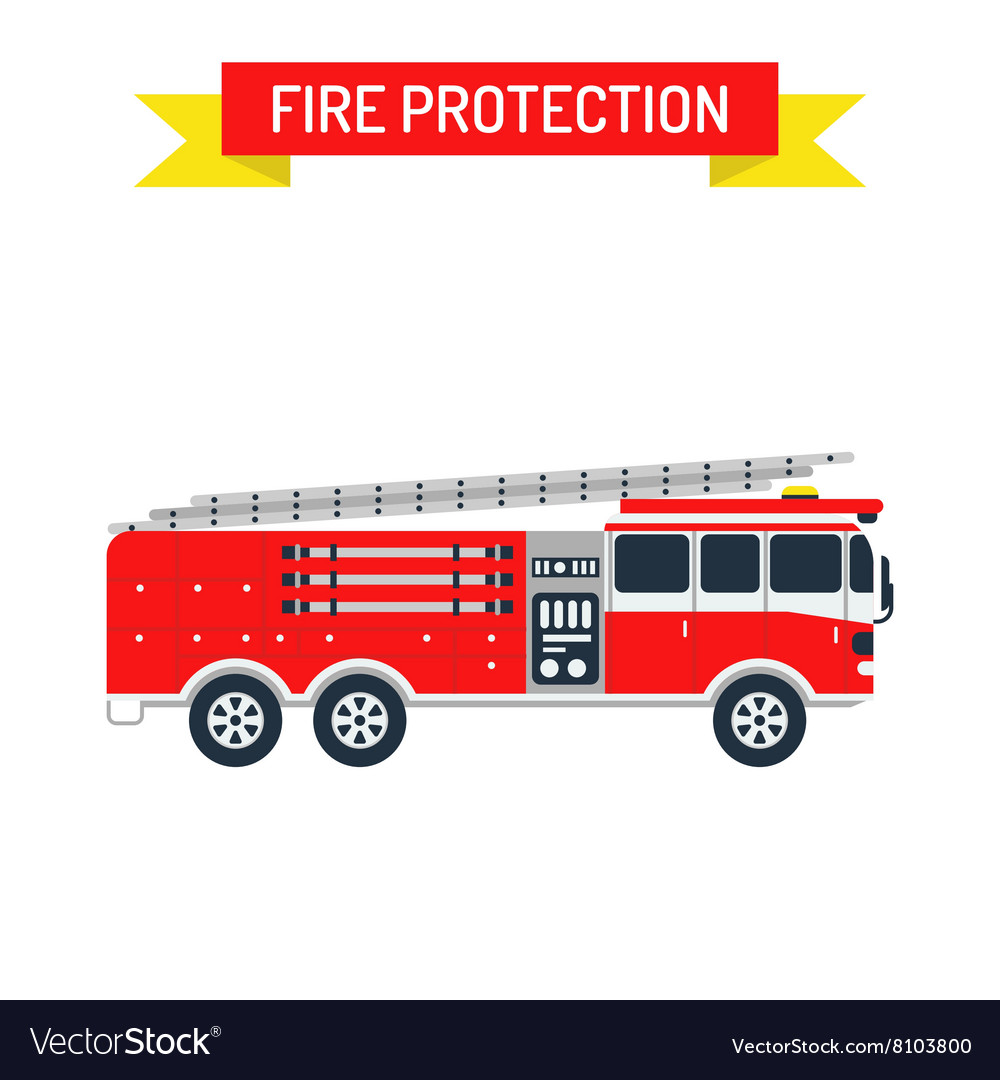 Detailed of fire truck emergency car vector