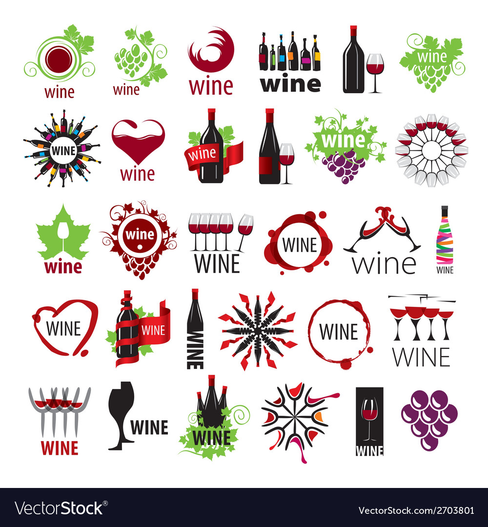 Biggest collection of logos wine vector