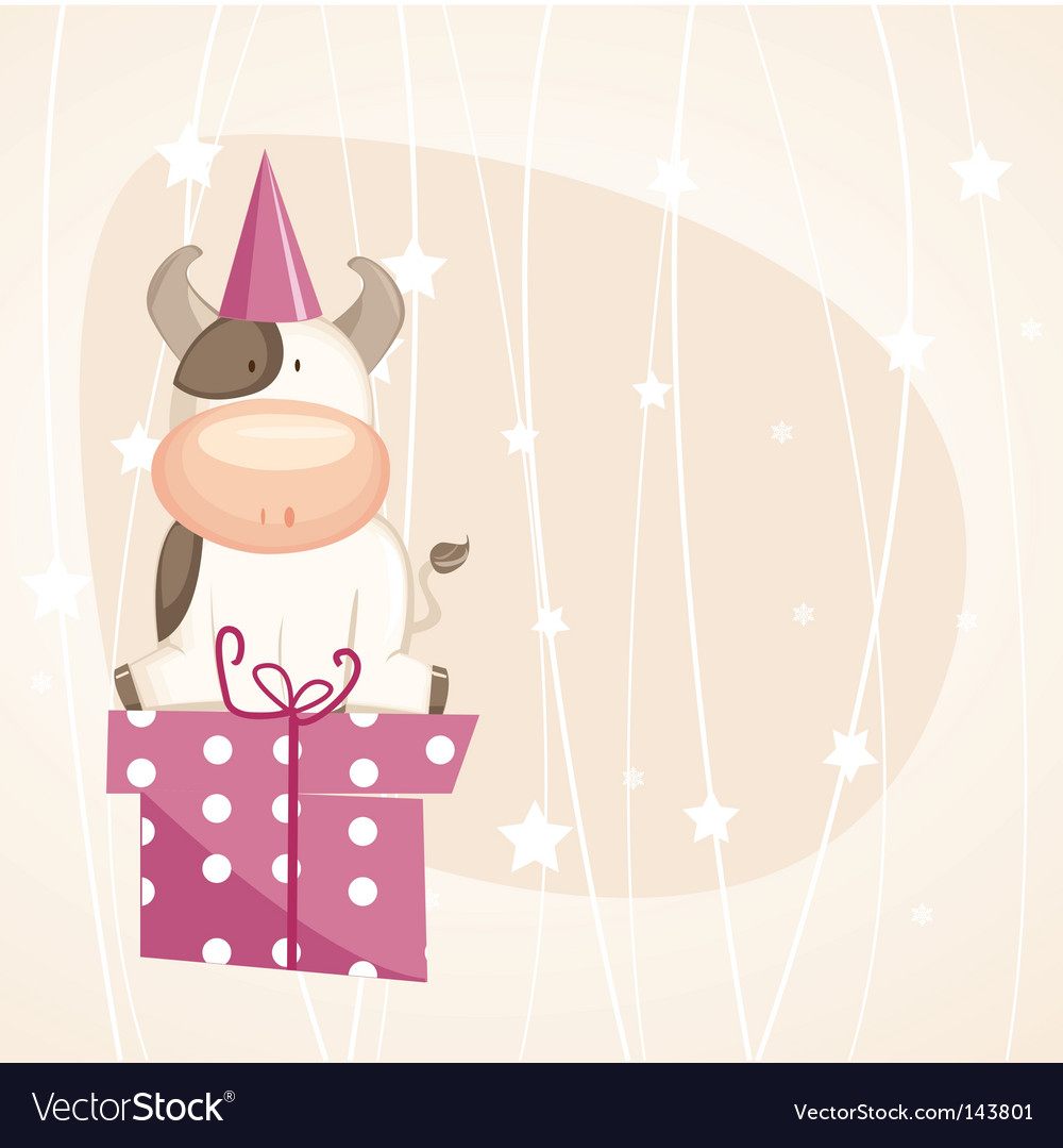 Birthday cow vector