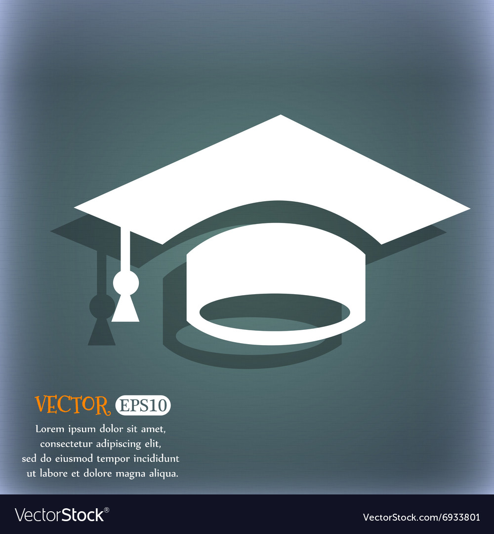 Graduation icon on the bluegreen abstract vector