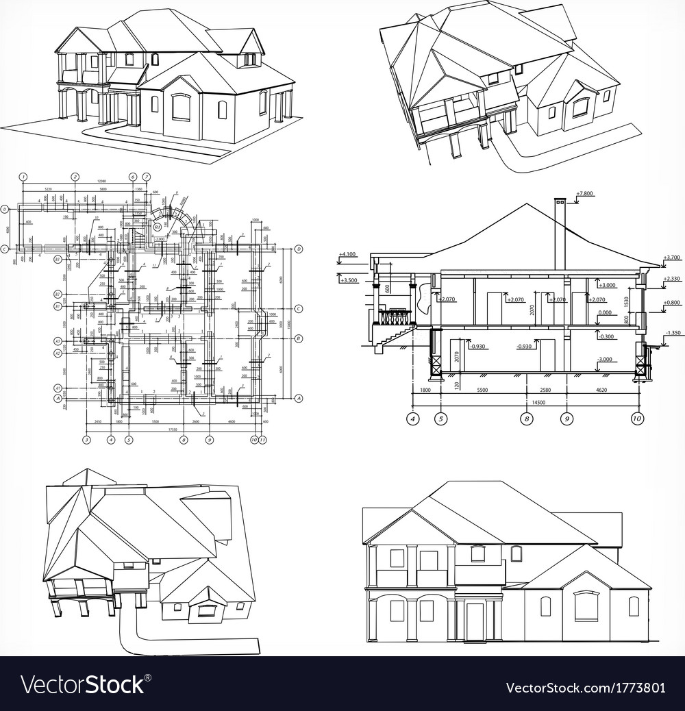 Set houses and blueprint vector