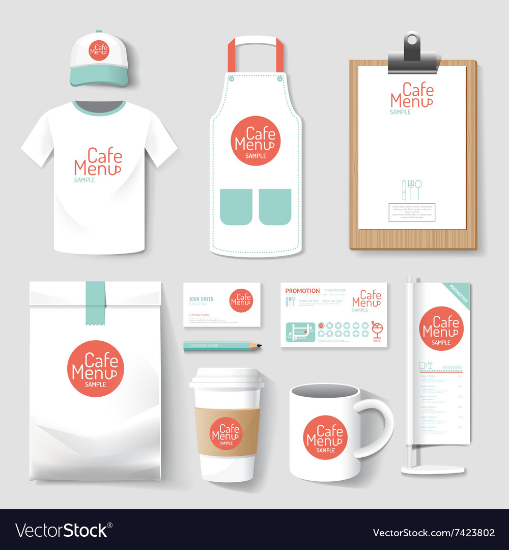 Restaurant cafe set flyer menu package tshirt vector