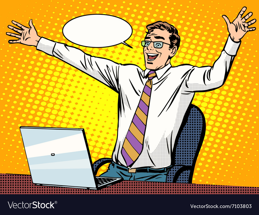 Businessman success working on laptop vector