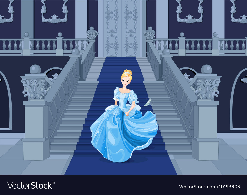 Cinderella runs away vector