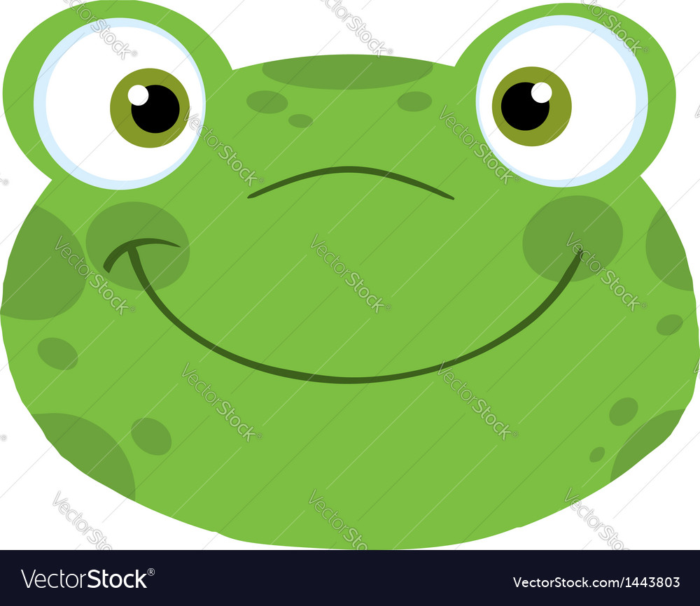 Cute frog smiling head vector