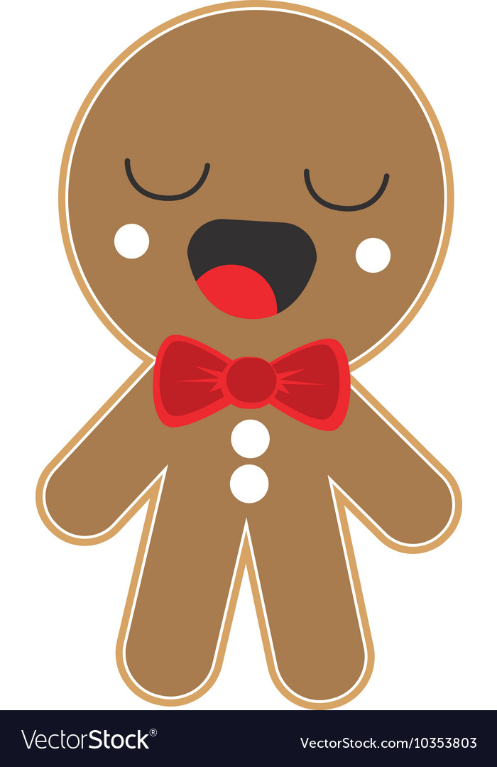 Kawaii gingerbread cookie icon vector