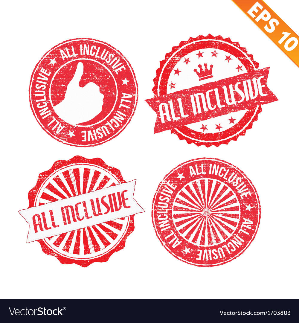 Stamp sticker all inclusive collection   vector