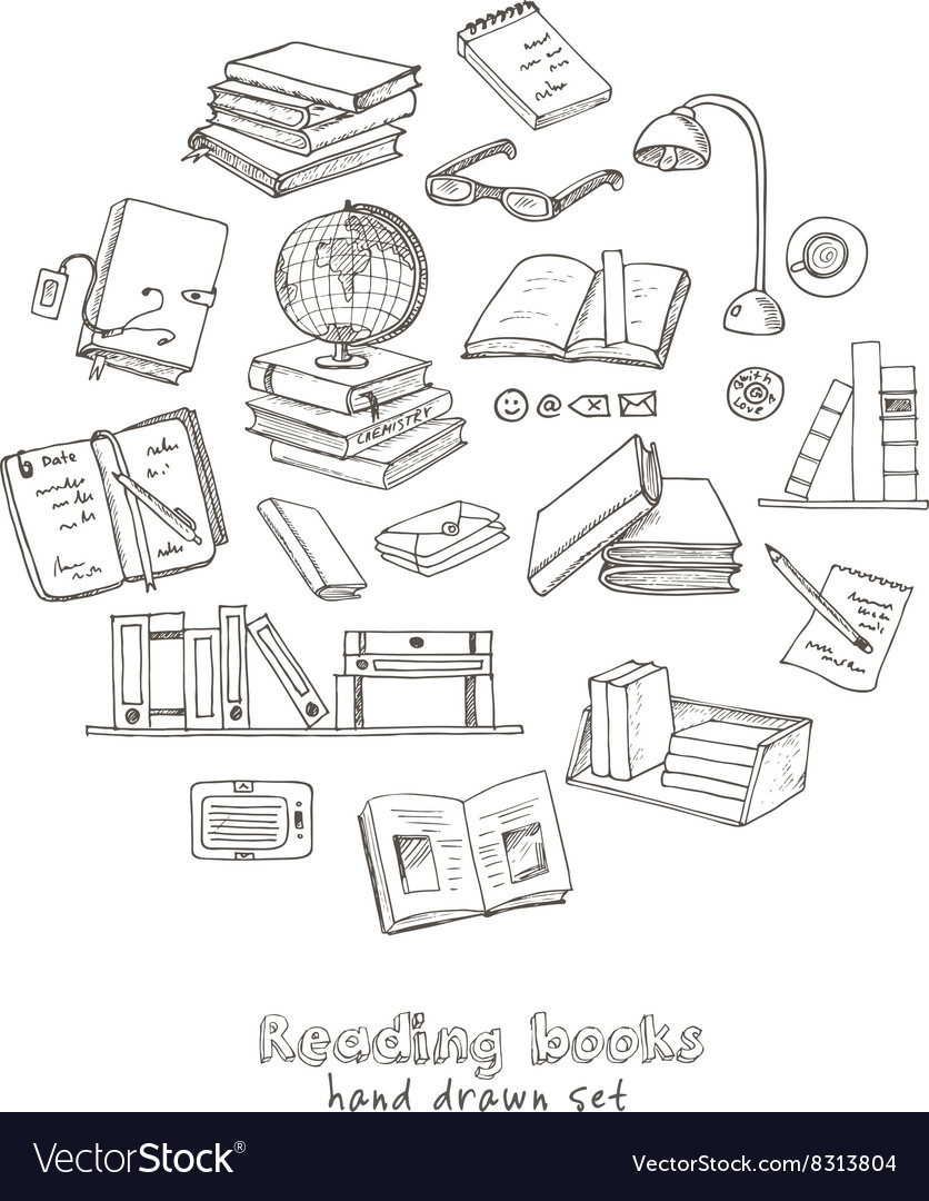 Hand drawn doodle books reading set vector