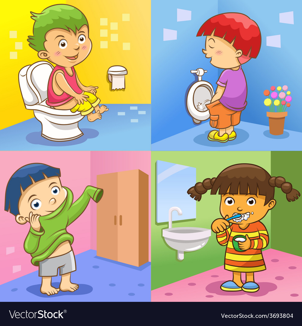 Set of child daily activities vector