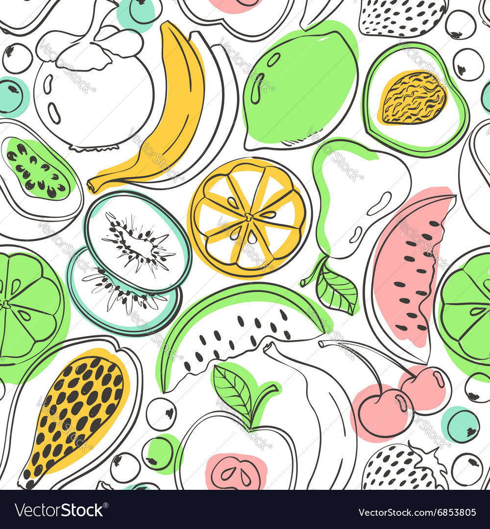 Doodle colorful fruit seamless pattern vector