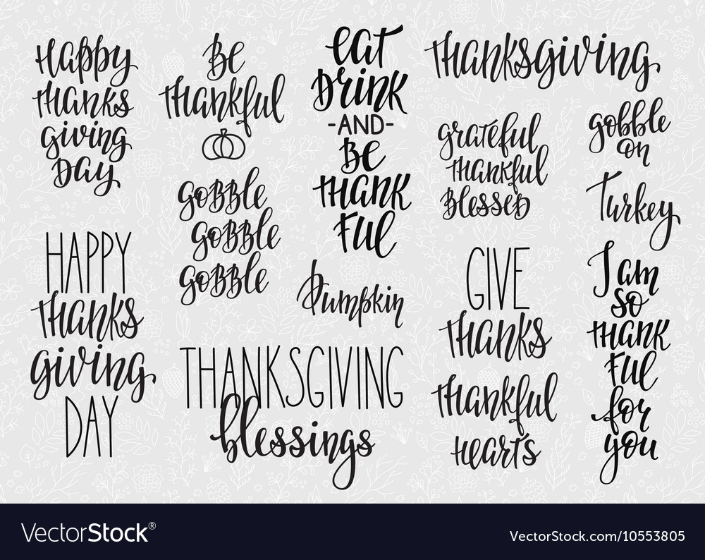 Thanksgiving lettering typography set vector