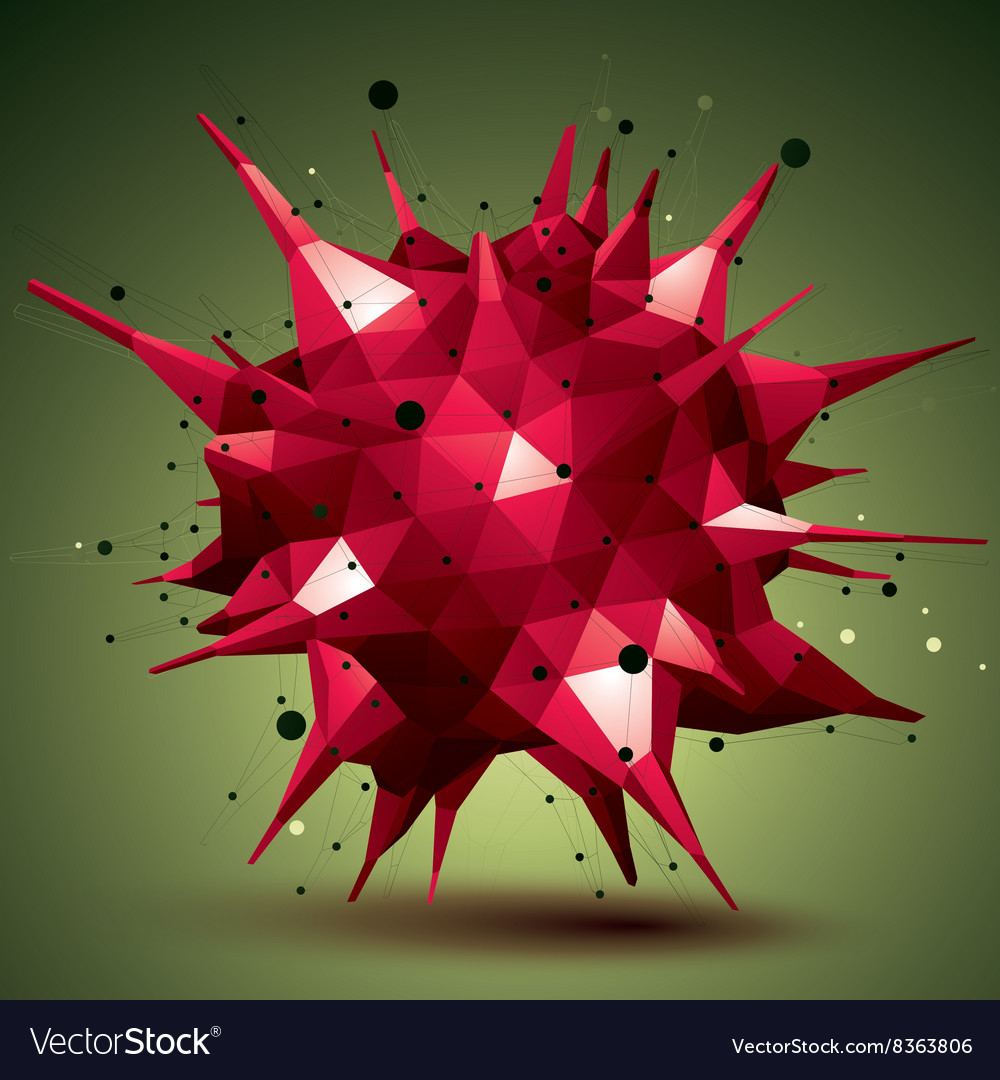 Abstract 3d structure polygonal network object red vector