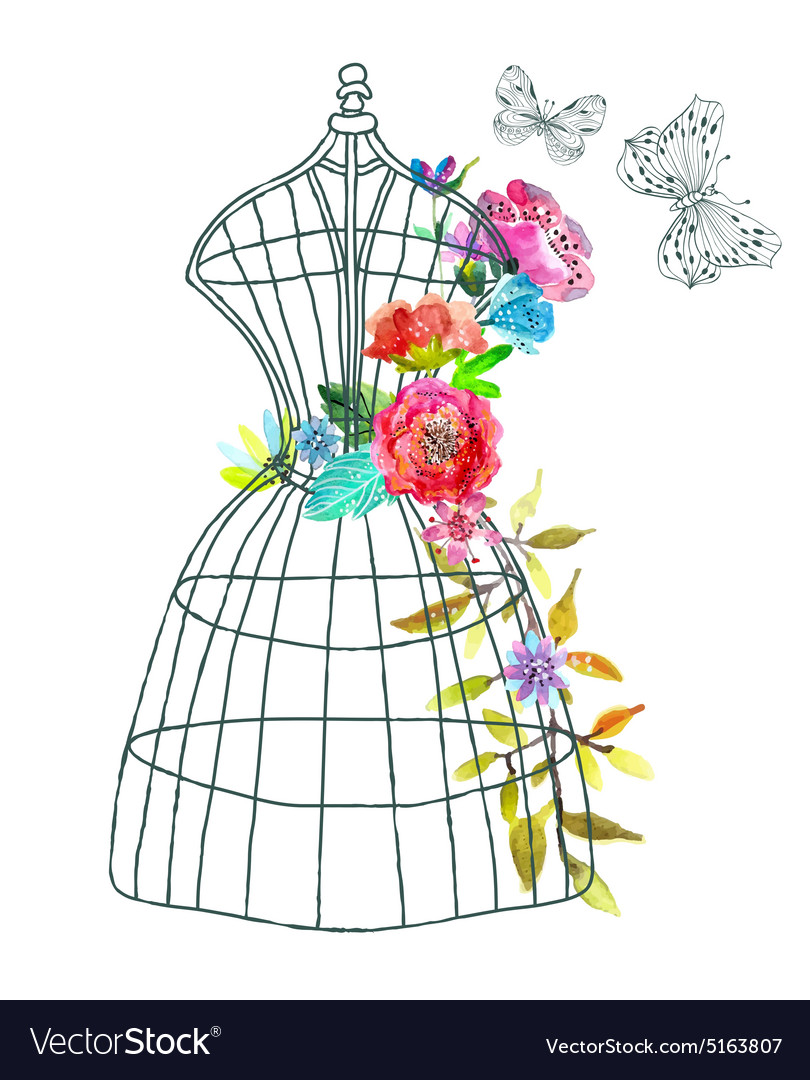 Doodle mannequin with watercolor flowers and vector