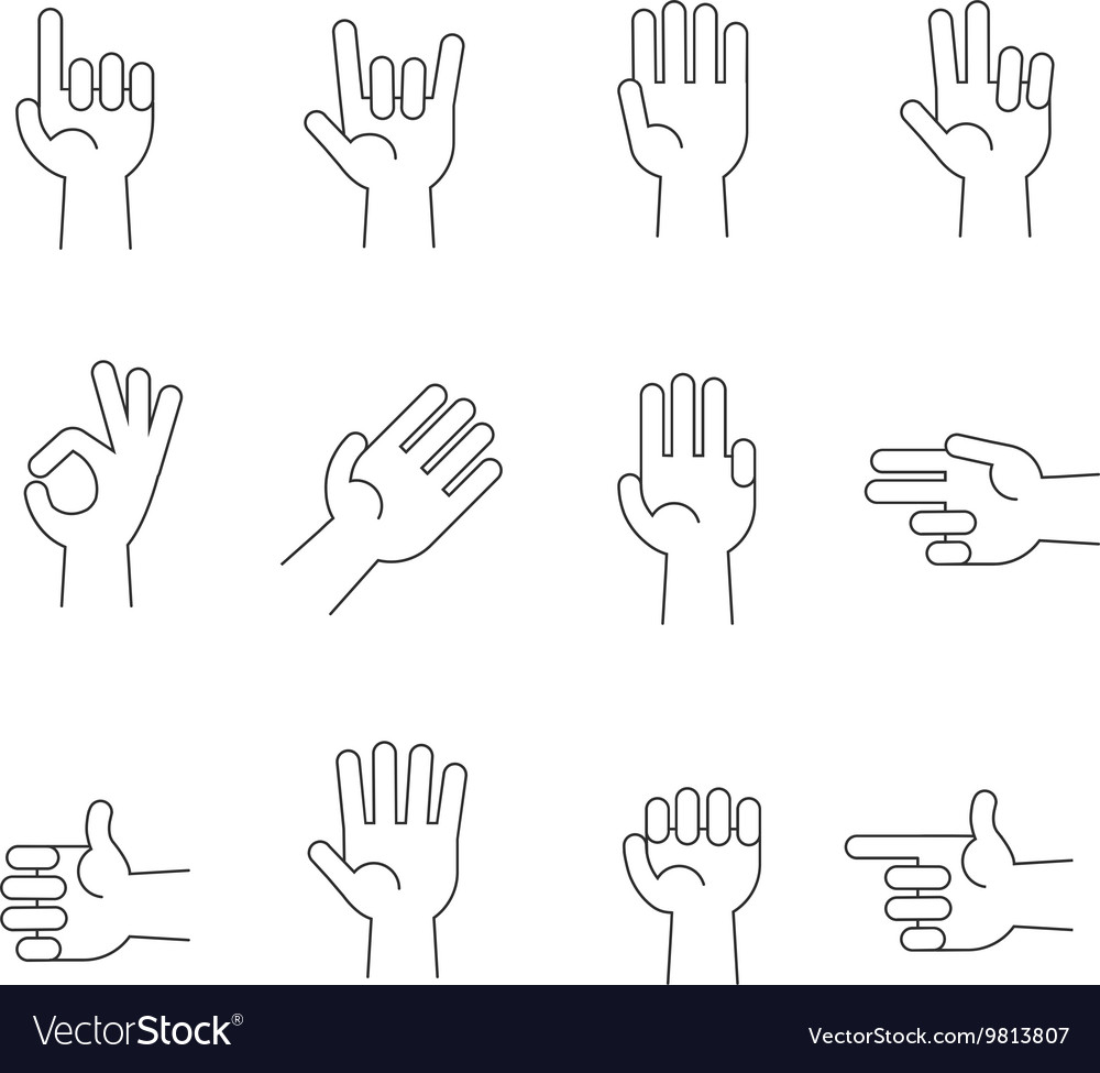 Hands line icons set vector