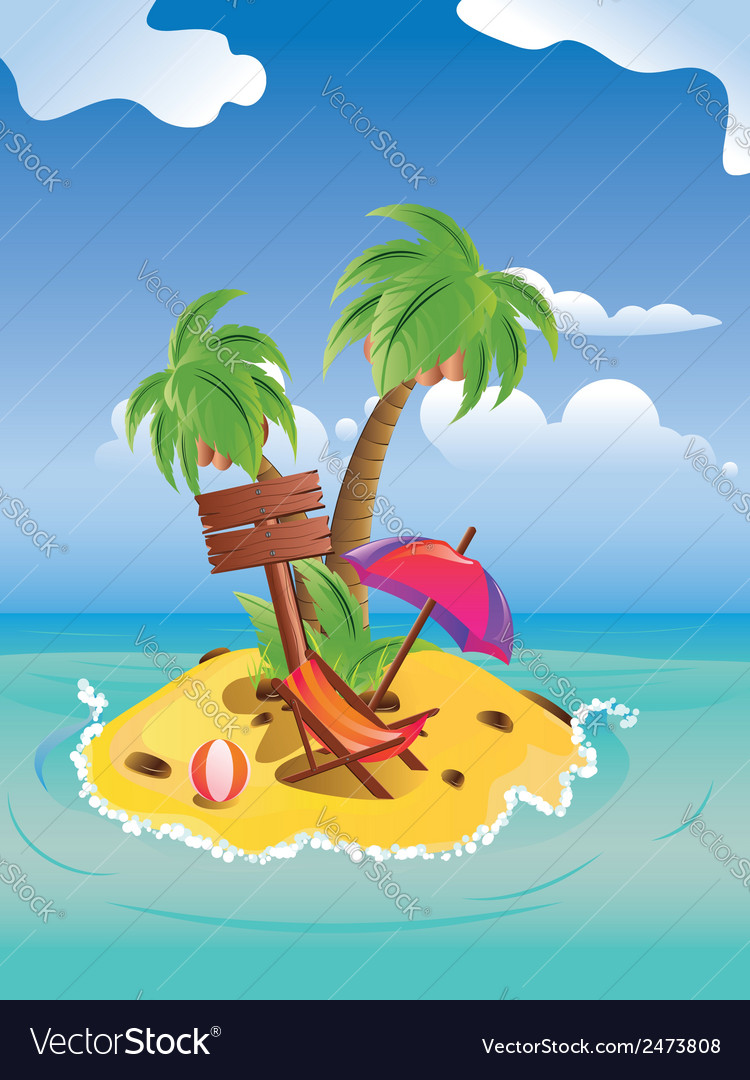 Cartoon palm island vector