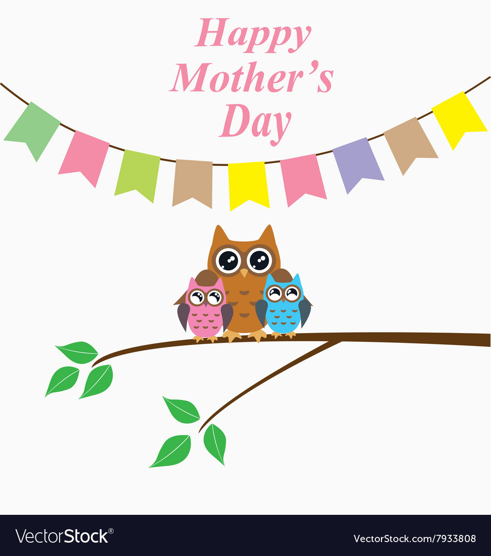 Owl mom day vector