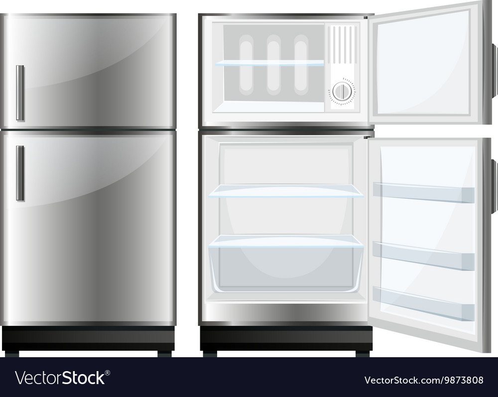 Refridgerator with closed and opened door vector