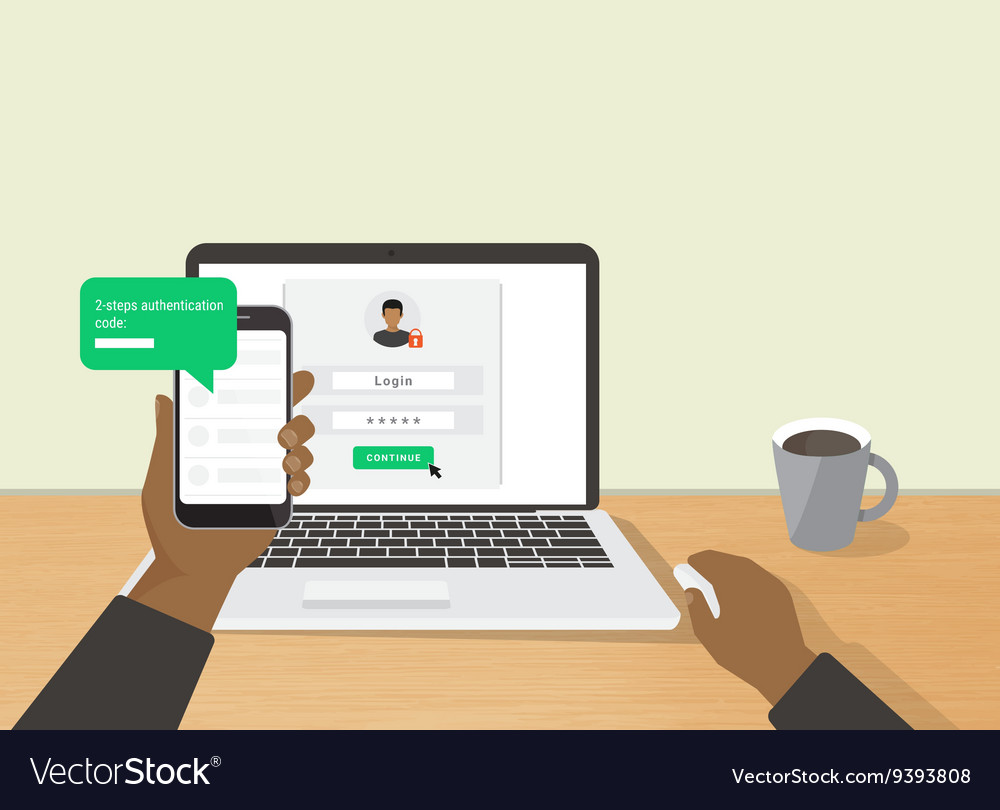 Two steps authentication concept vector
