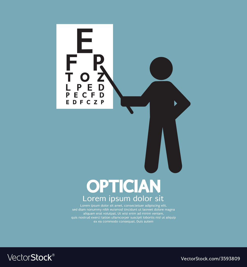 Optician pointing to snellen chart graphic symbol vector