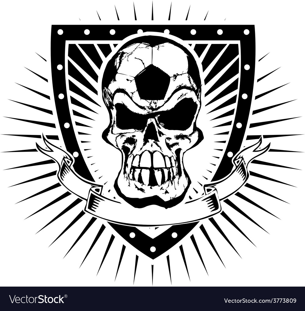 Soccer skull shield vector