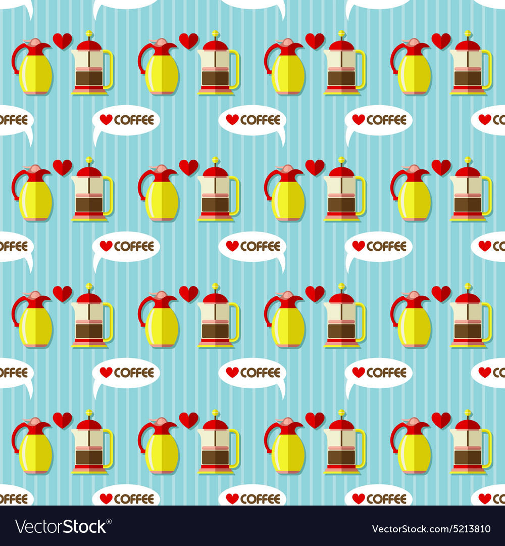 Coffee maker and coffee jug seamless pattern vector