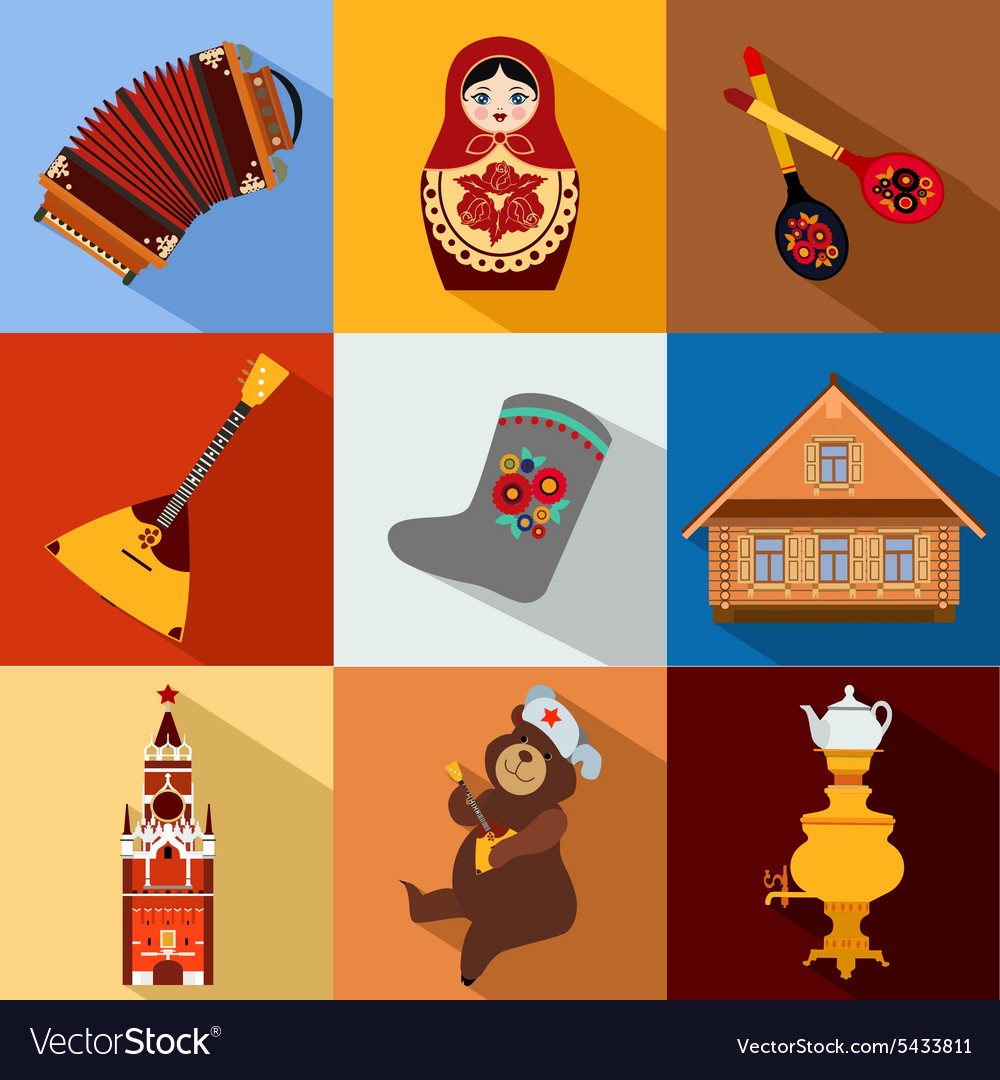 Set of russia travel colorful flat icons russian vector