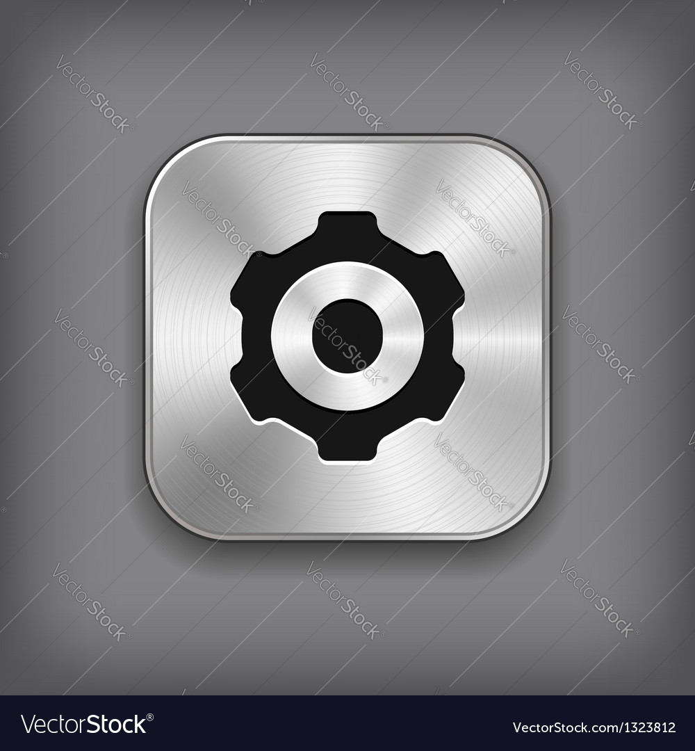 Gear icon  metal app button vector