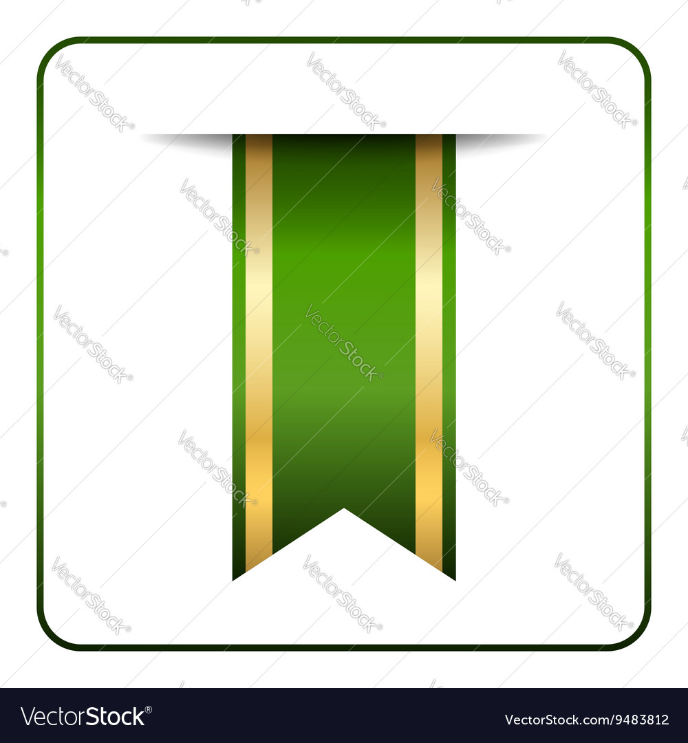 Green gold bookmark vector