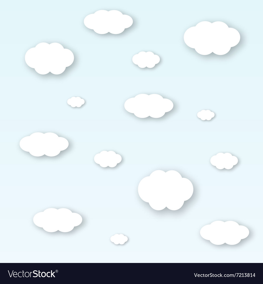 Shape of white clouds with shadows vector