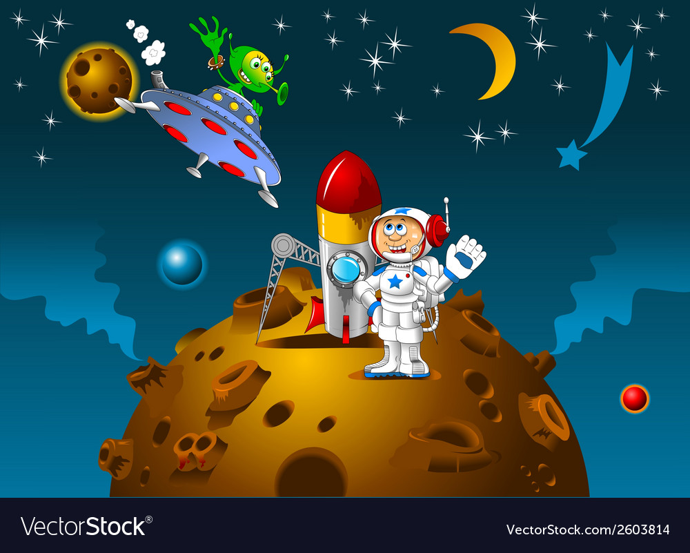 Space scene with rocket and alien vector