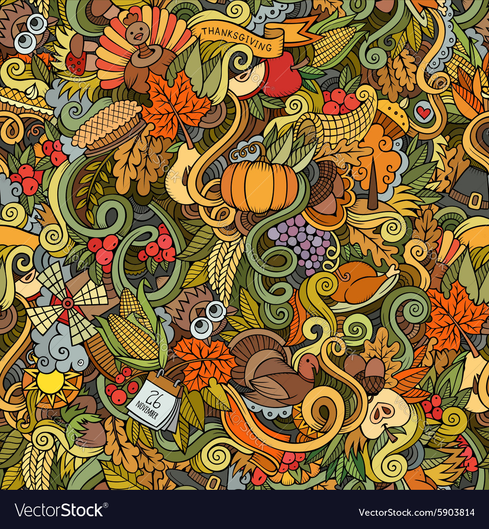 Thanksgiving autumn symbols food and drinks vector