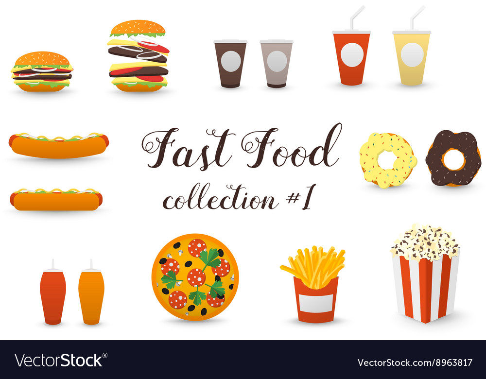 Fast food collection burger hot dog coffee tea vector