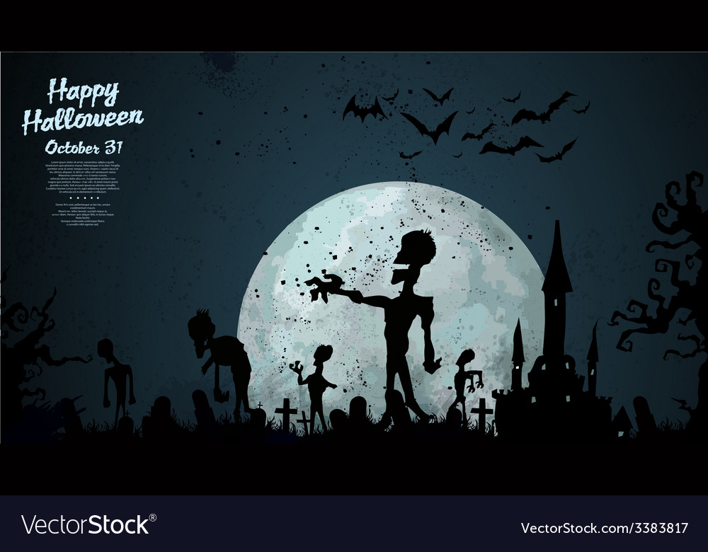 Halloween zombie background vector