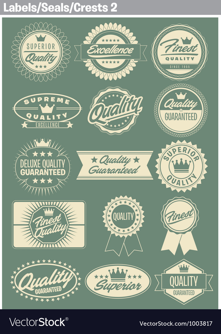 Labels seals crests 2 vector