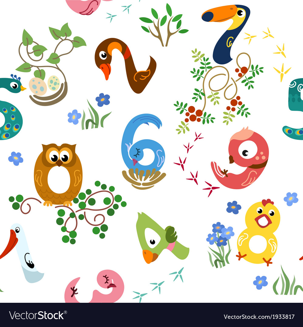 Numbers like birds seamless pattern vector