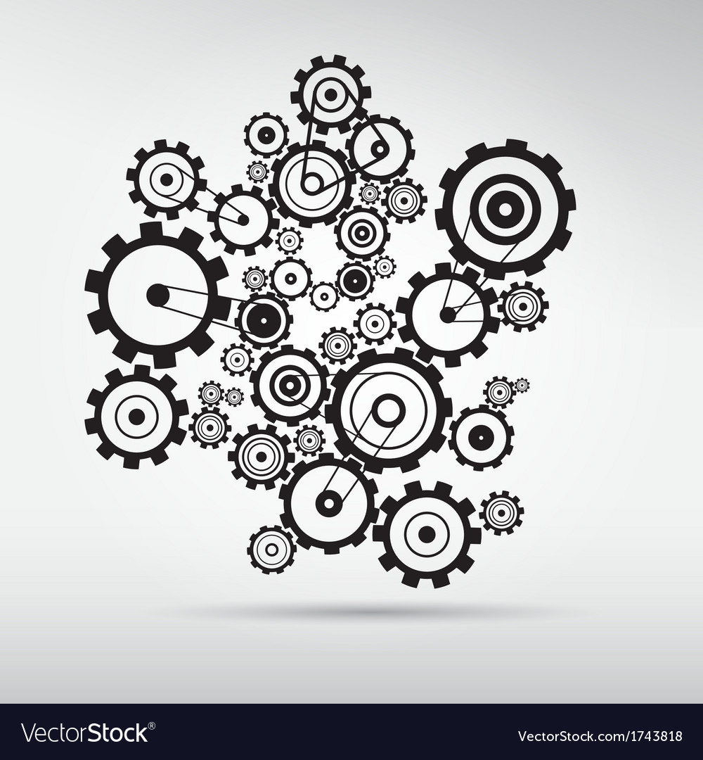 Abstract cogs  gears on grey background vector