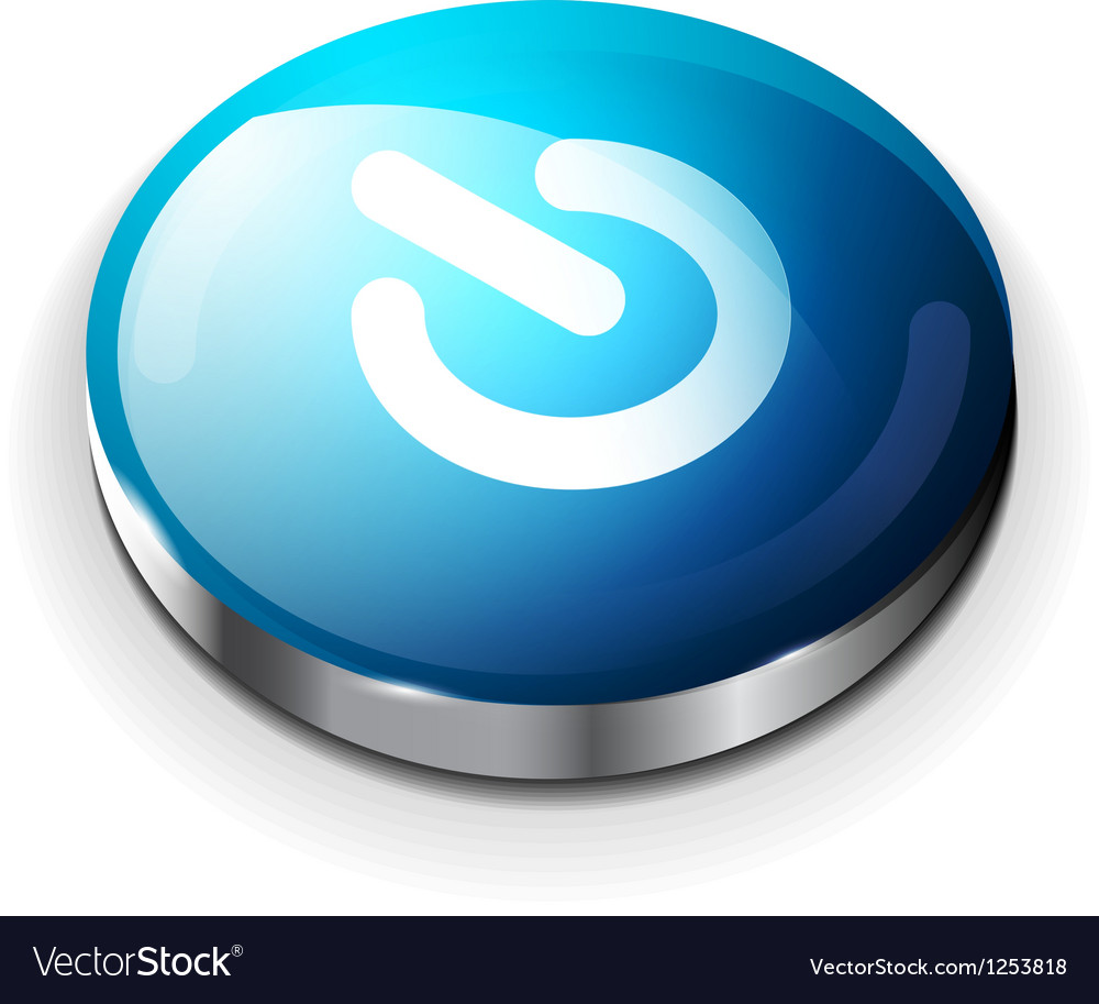 Blue glossy power button icon vector