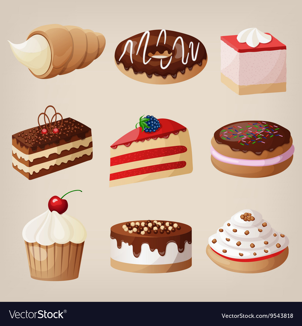 Set of cakes cookies donuts pies vector