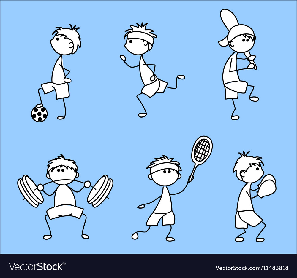 Stick figure sporting icon set vector