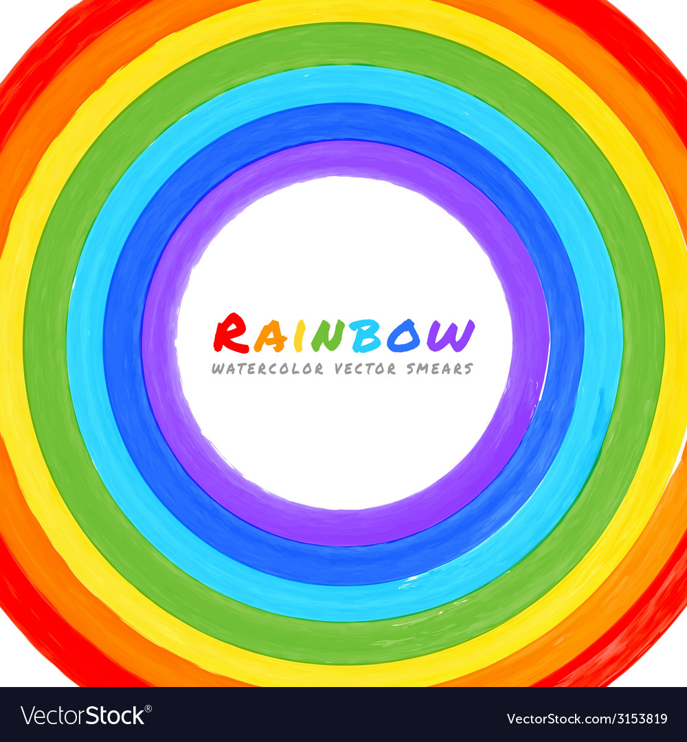 Rainbow watercolor circle vector