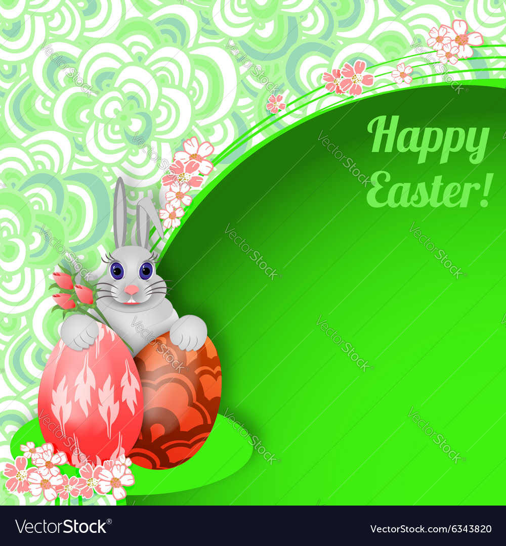 Easter background with rabbit easter eggs and vector