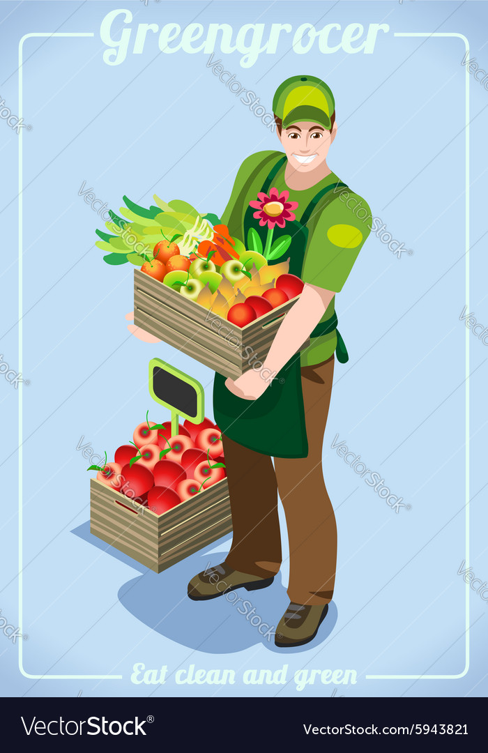 Greengrocer services people isometric vector
