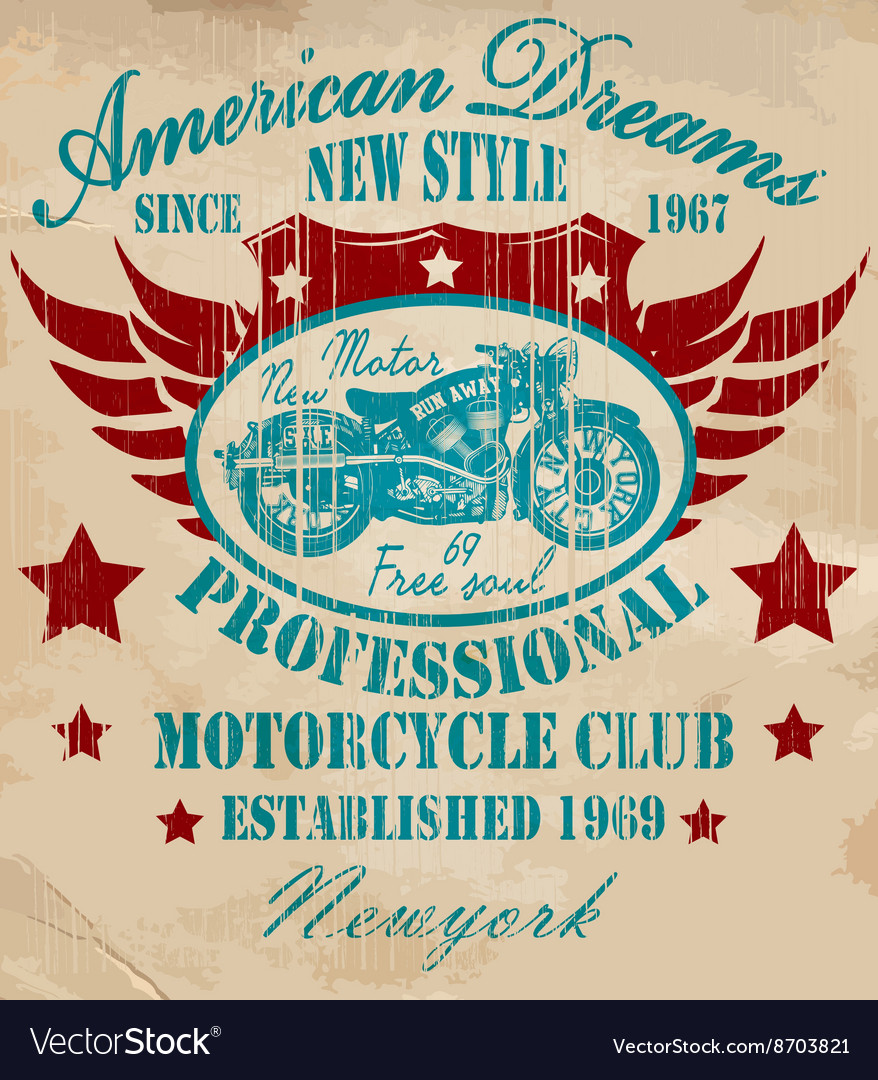 Vintage motorcycle tshirt graphic vector